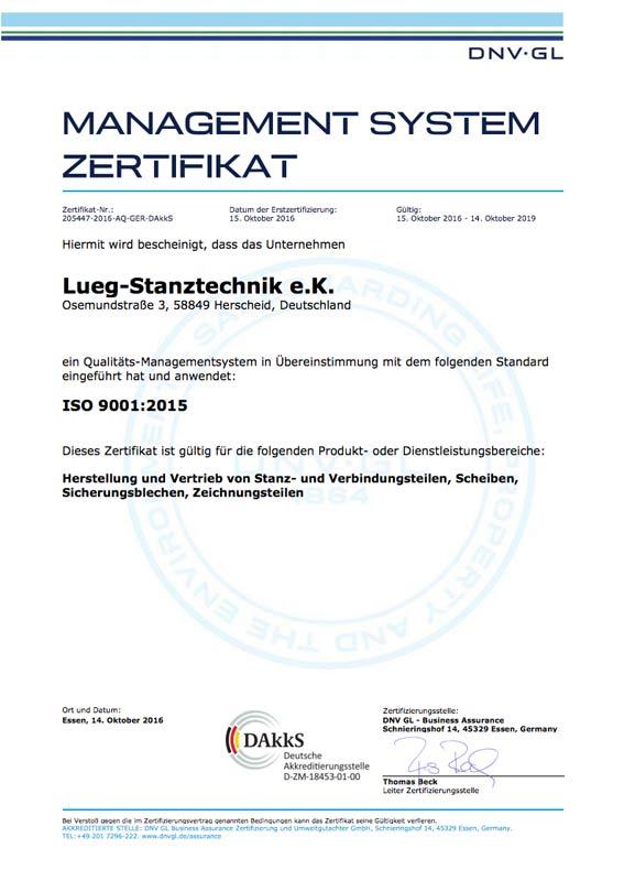 Lueg Stanztechnik – Zertifikat ISO 9001 : 2015